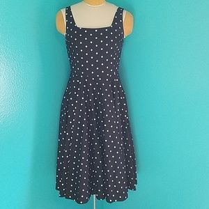 Mod Retro Black Dress with White Polka Dots